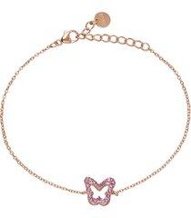 bracciale farfalla in argento rosato con zirconi rosa per donna