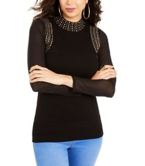 thalia sodi studded mesh-sleeve sweater, created for macy's