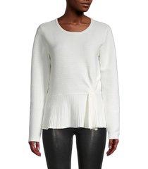 donna karan women's peplum cotton-blend sweater - new ivory - size l
