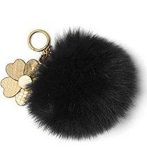 michael kors pom poms fur large with flowers bag charm (black)