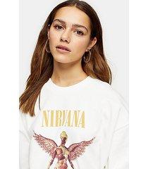 petite cream nirvana sweatshirt by and finally - grey
