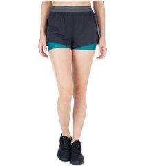 shorts memo com bermuda elástica - feminino - preto/verde
