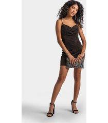sita ruched glitter dress - black