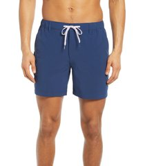 men's chubbies the new avenues water resistant hybrid shorts, size large - blue