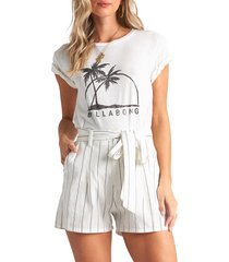 women's billabong come at me stripe tie waist shorts, size large - ivory