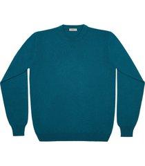 maglione da uomo, lanieri, 100% cashmere verde petrolio, autunno inverno | lanieri