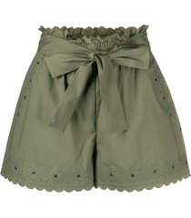 twin-set embroidered tie-waist shorts - green
