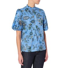 erdem maeve pleated sleeve floral print blouse, size 8 us in periwinkle /blue at nordstrom