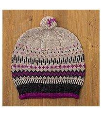 100% alpaca wool hat, 'miski inca' (peru)