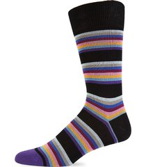 paul smith men's multicolored striped crew socks - black multi