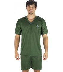 pijama mvb modas  adulto curto verã£o verde - verde - masculino - poliã©ster - dafiti