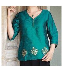 beaded silk tunic, 'emerald empress' (india)