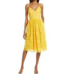 lulus treasure me embroidered lace fit & flare dress, size x-large in mustard yellow at nordstrom