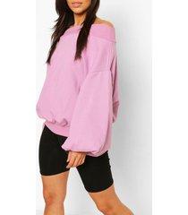 baggy oversized sweater met boothals, lila