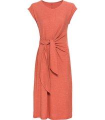 hennep jurk met korte mouw, wikkeltaille en ronde hals, klei 36
