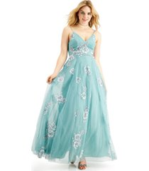 teeze me juniors' glitter floral gown