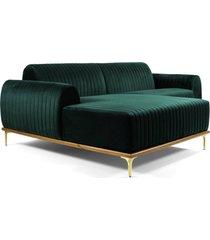 sofá 3 lugares com chaise base de madeira euro 245 cm veludo verde  gran belo