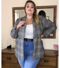 yoins plus talla gris chaqueta de manga larga con cuello de muesca a cuadros