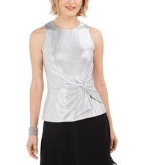 adrianna papell foil twist-front top