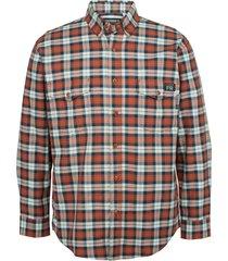 wolverine men's fr plaid long sleeve twill shirt russet plaid, size xxl