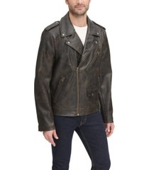 levi's men's washed faux leather asymmetrical motorcycle jacket