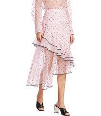 erdem women's polka dot ruffle organza skirt - pink - size 10 uk (6 us)