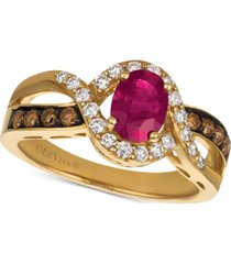 le vian chocolatier passion ruby (3/4 ct. t.w.) & diamond (1/2 ct. t.w.) ring in 14k gold