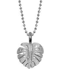 sterling silver alex woo mini x wellness monstera leaf pendant