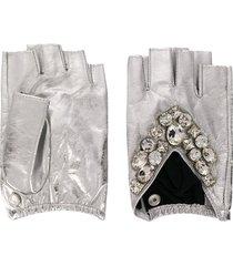 karl lagerfeld k/geostone fingerless gloves - silver