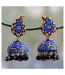 ceramic dangle earrings, 'blue paisley' (india)