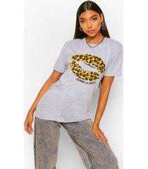 lang t-shirt met luipaardprint en lippen slogan, grijs