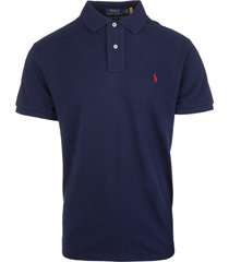 man navy blue and red slim-fit pique polo shirt