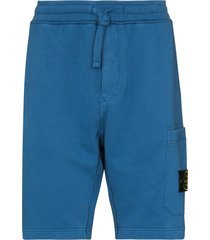 stone island logo-patch track shorts - blue