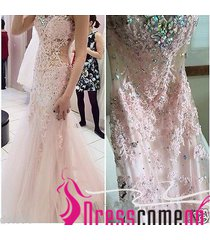 new mermaid sweetheart beading see through waist lace pale pink prom dresses
