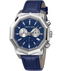 roberto cavalli by franck muller men's swiss quartz dark blue leather strap watch 43mm