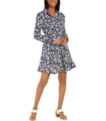 tommy hilfiger printed tie-waist dress