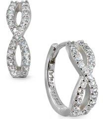 cubic zirconia infinity huggie hoop earrings in sterling silver