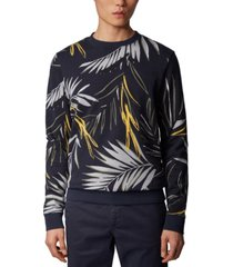 boss men's weleaf dark blue sweatshirt