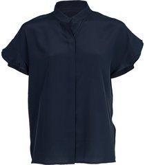 flounce sleeve silk blouse