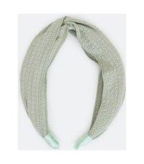 tiara larga com tecido fino enrugado | accessories | verde | u
