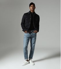 reiss jenner - wool blend blouson jacket in navy, mens, size xxl