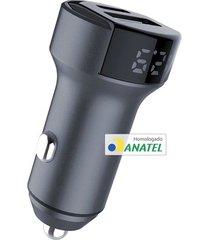 carregador veicular ultra rápido 36w com mostrador de voltagem geonav cinza