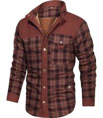 button up plaid print fleece jacket