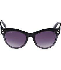women's 51mm swarovski crystal cat eye sunglasses - black