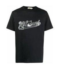 maison kitsuné camiseta com estampa de logo - preto