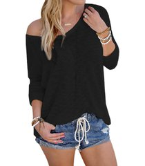 black sexy v neck long sleeves knitted t-shirt