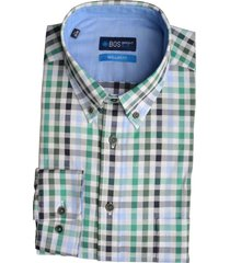 bos bright blue overhemd langemouw groen ruit 20107wi14bo/366 emerald
