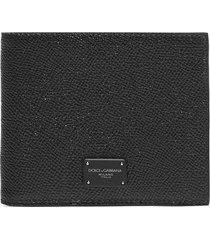 dolce & gabbana logo-plaque leather bifold wallet