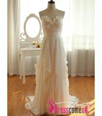 a line sweetheart sleeveless wedding dress ivory chiffon wedding/bridal gown