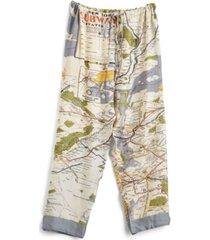 two's company new york map pajama pants with drawstring closure